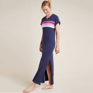 NWT Sundry Verona Striped Tee Slit Maxi Dress